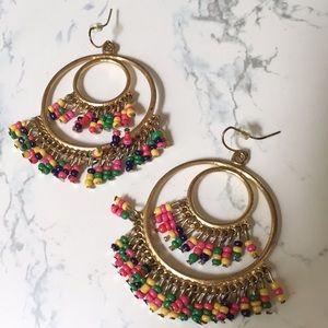 Double hoop beaded earrings